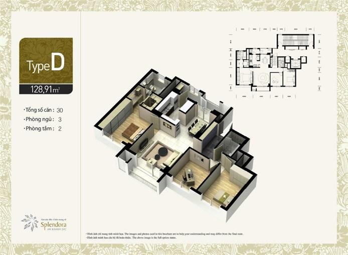 Căn hộ loại D:Gồm 30 căn. Diện tích 128,91m2. Thiết kế 3 phòng phủ, 2 phòng tắm.