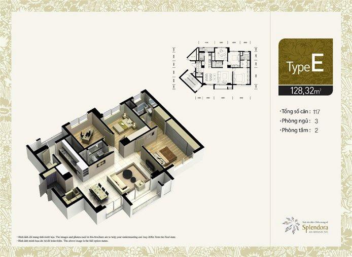 Căn hộ loại E:Gồm 117 căn. Diện tích 128,32m2. Thiết kế 3 phòng phủ, 2 phòng tắm.