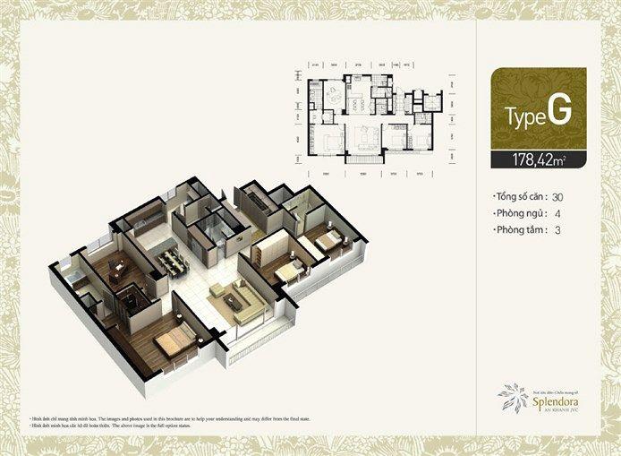 Căn hộ loại F:Gồm 156 căn. Diện tích 150,68m2. Thiết kế 3 phòng phủ, 3 phòng tắm.