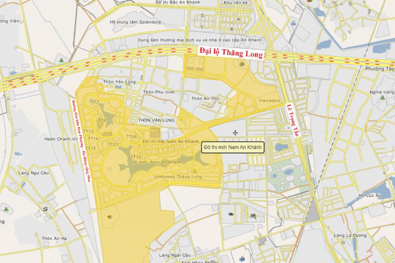 Vị trí Khu đô thị Nam An Khánh Sudico