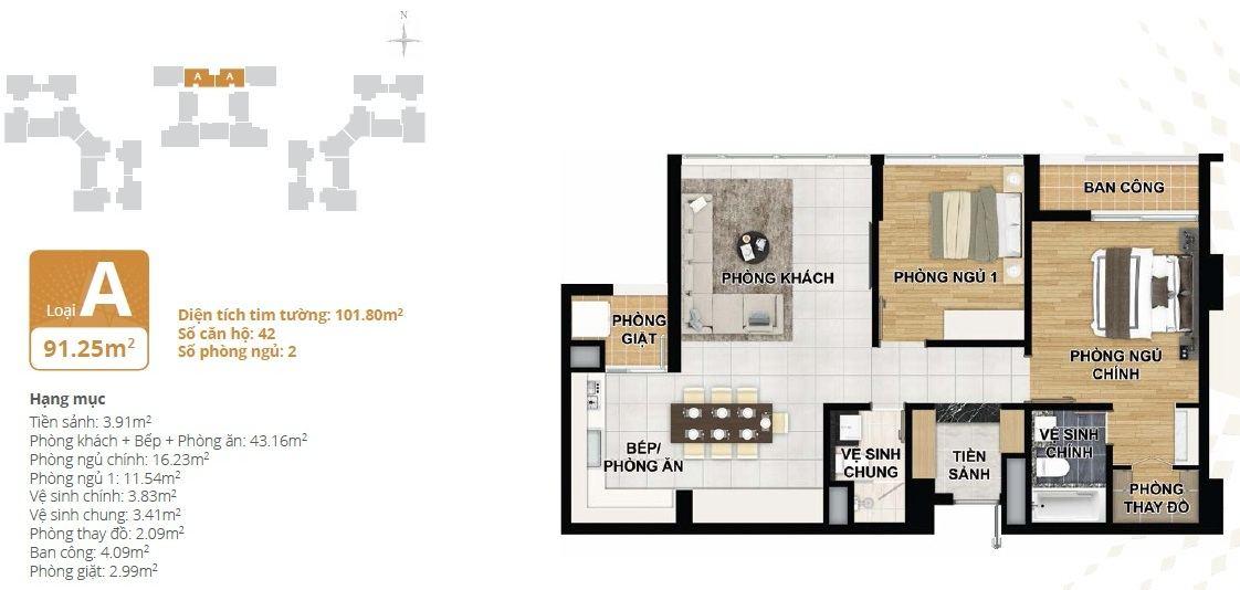 Thiết kế căn hộ chung cư Starlake loại A