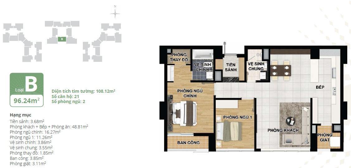 Thiết kế căn hộ chung cư Starlake loại B
