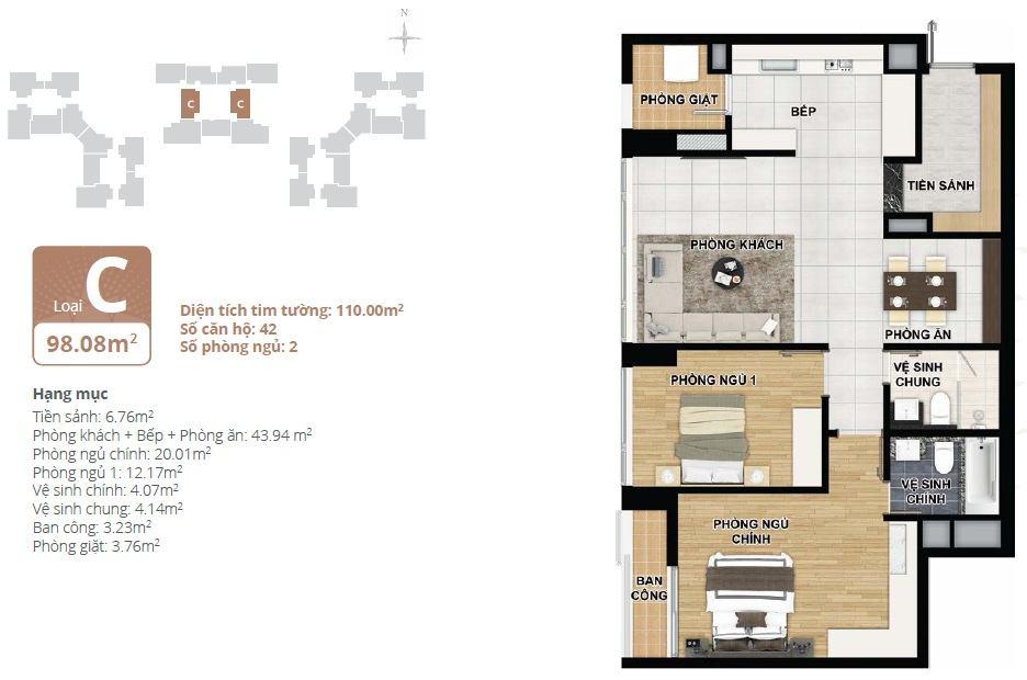 Thiết kế căn hộ chung cư Starlake loại C