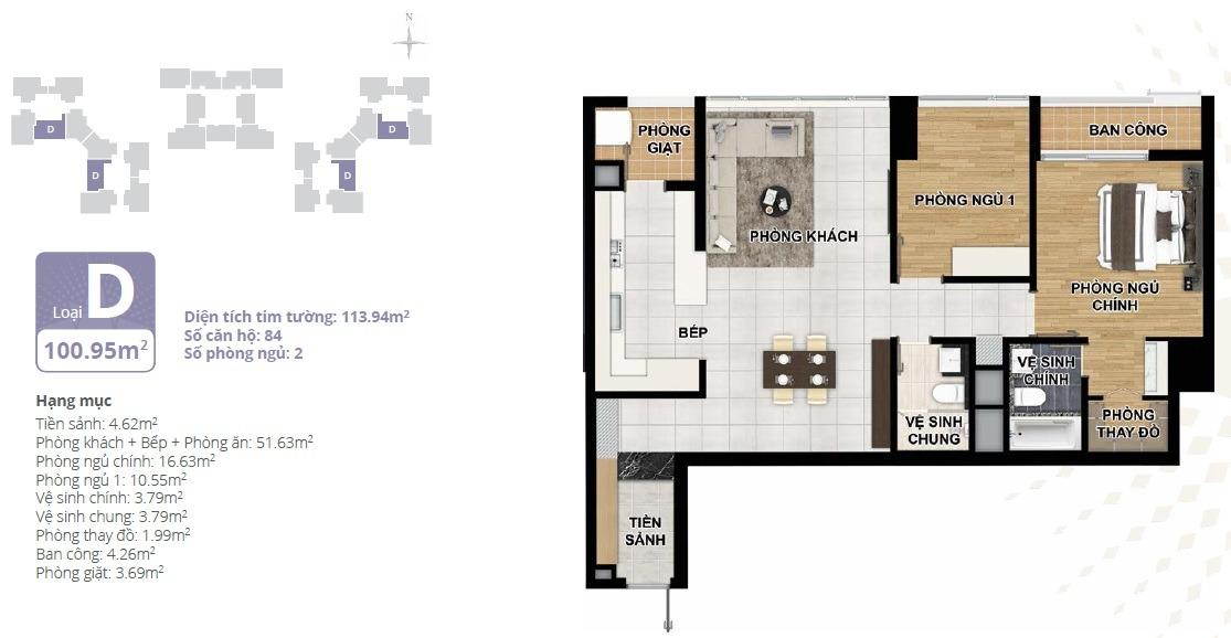 Thiết kế căn hộ chung cư Starlake loại D