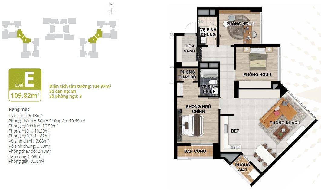 Thiết kế căn hộ chung cư Starlake loại E