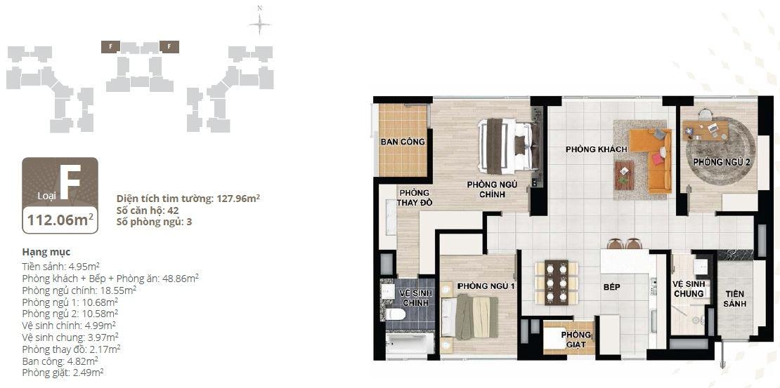 Thiết kế căn hộ chung cư Starlake loại F