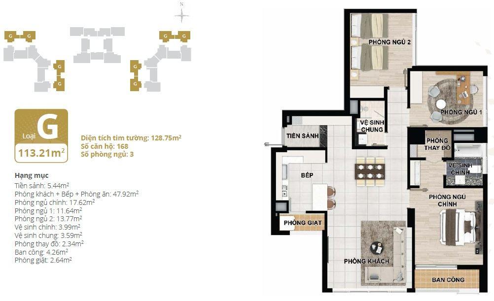Thiết kế căn hộ chung cư Starlake loại G