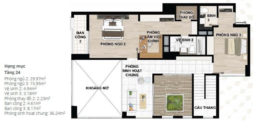 Thiết kế căn hộ Penhouse chung cư Starlake tầng 24 - 2