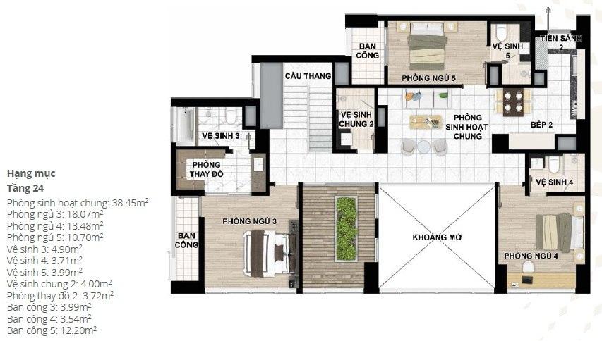 Thiết kế căn hộ Penhouse chung cư Starlake tầng 24