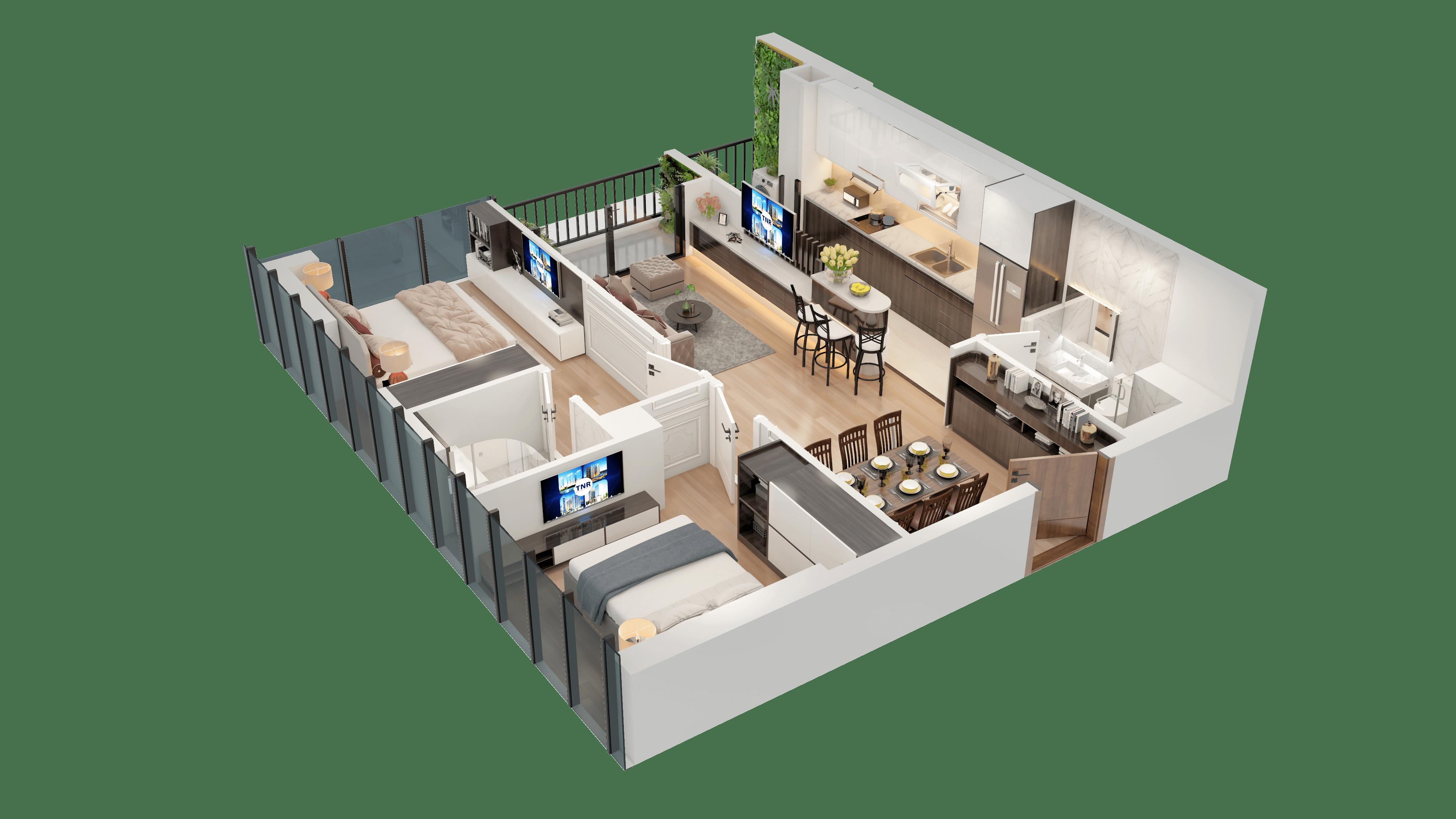 Thiết kế căn hộ 18 chung cư tnr the nosta