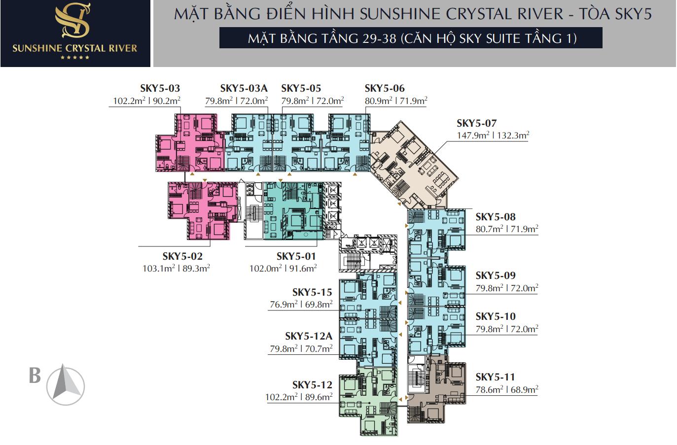 Mặt bằng tầng 29 - 38 căn hộ Sky Suite Tầng 1- Tòa Sky 5 Sunshine Crystal River