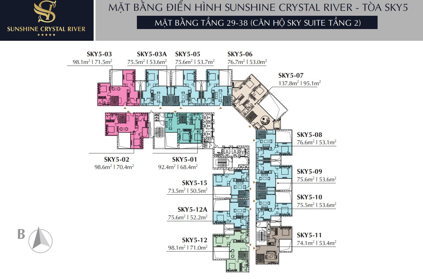Mặt bằng tầng 29 - 38 căn hộ Sky Suite Tầng 2 - Tòa Sky 5 Sunshine Crystal River