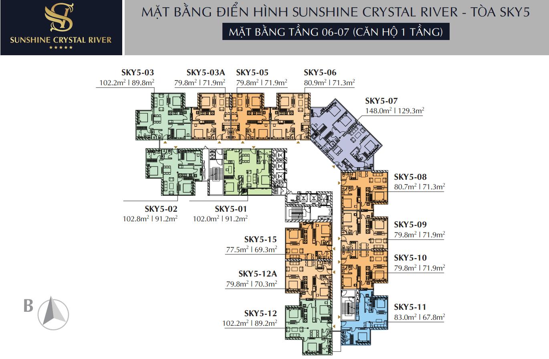 Mặt bằng điển hình tầng 6 - 7 Căn hộ 1 tầng Sunshine Crystal River