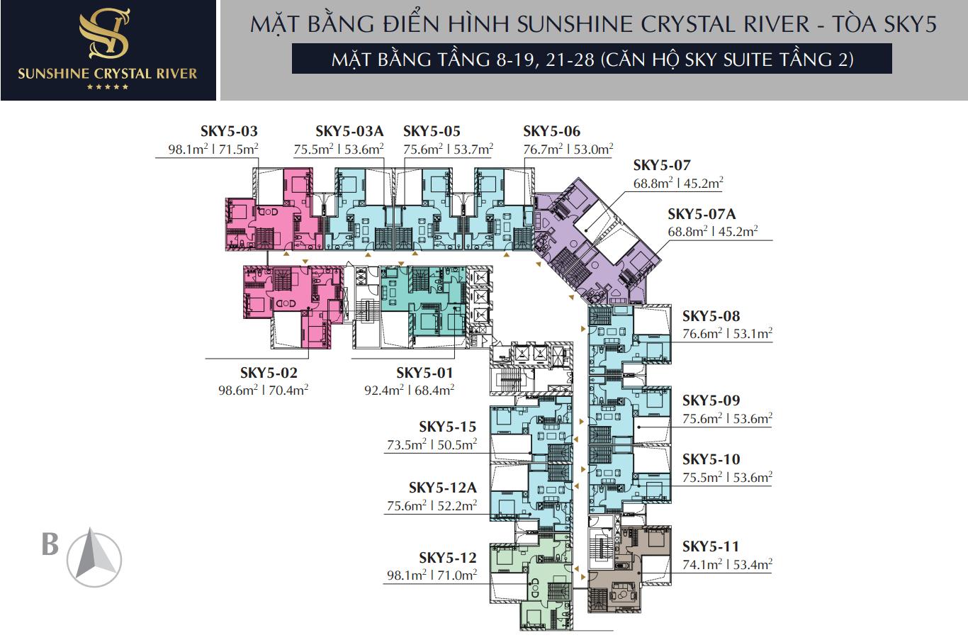 Mặt bằng tầng 8 - 19, 21 - 28 căn hộ Sky Suite Tầng 2 - Tòa Sky 5 Sunshine Crystal River
