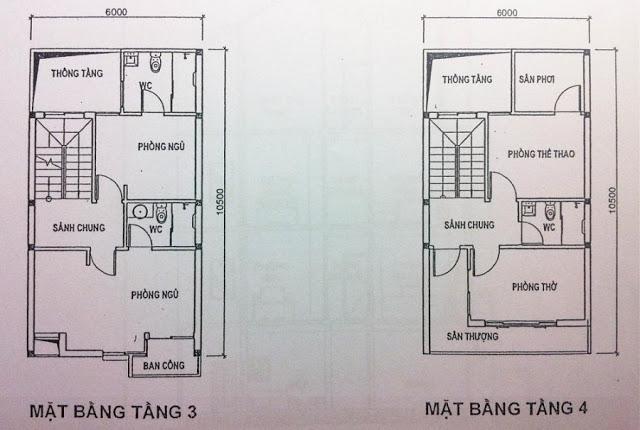 Thiết kế mặt bằng tầng 3, 4