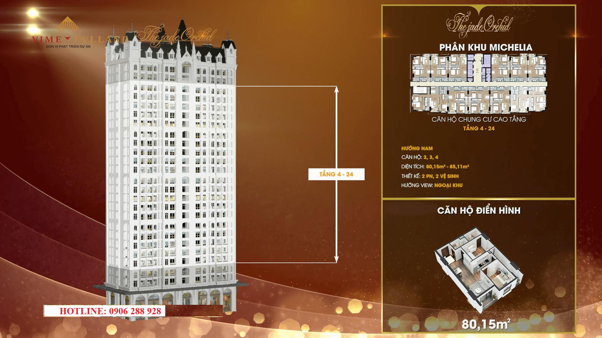 Thiết kế căn hộ 02 - 03 - 04 tầng 4 - 24