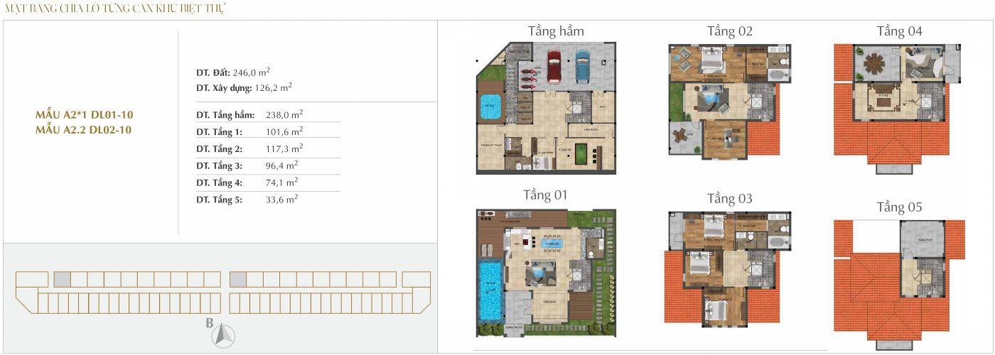 Thiết kế biệt thự Đơn lập - Mẫu A2*1 - A2.2 Sunshine Crystal River