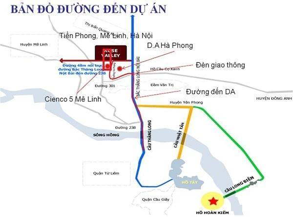 Bản đồ đến dự án Khu đô thị Cienco 5 Mê Linh
