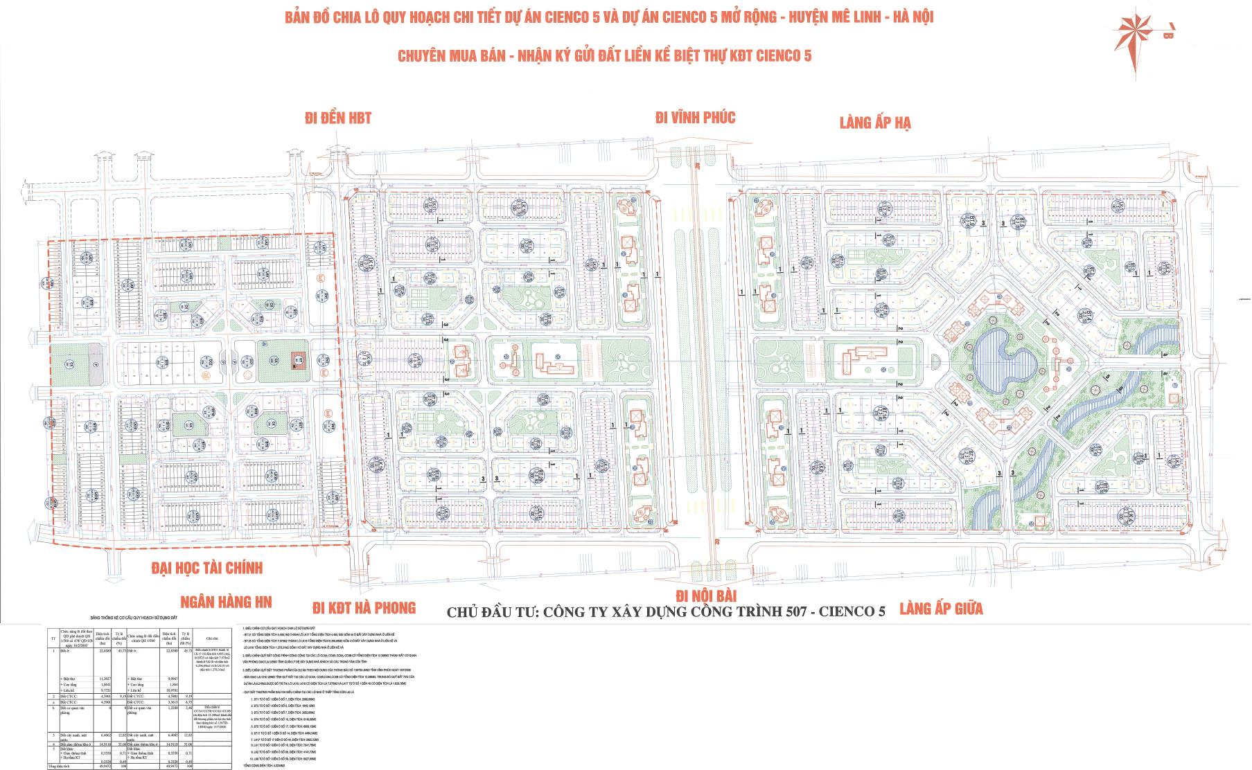 Mặt bằng chia lô dự án Khu đô thị Cienco 5 Mê Linh