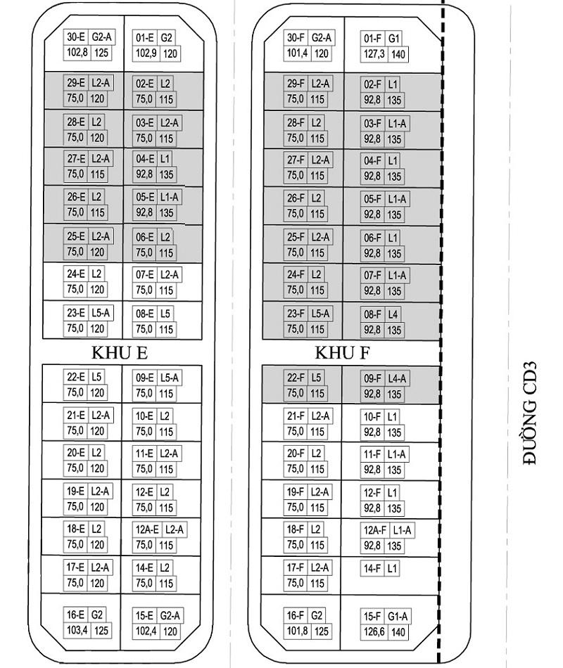 Mặt bằng phân lô khu E - F liền kề A10 Nam Trung Yên