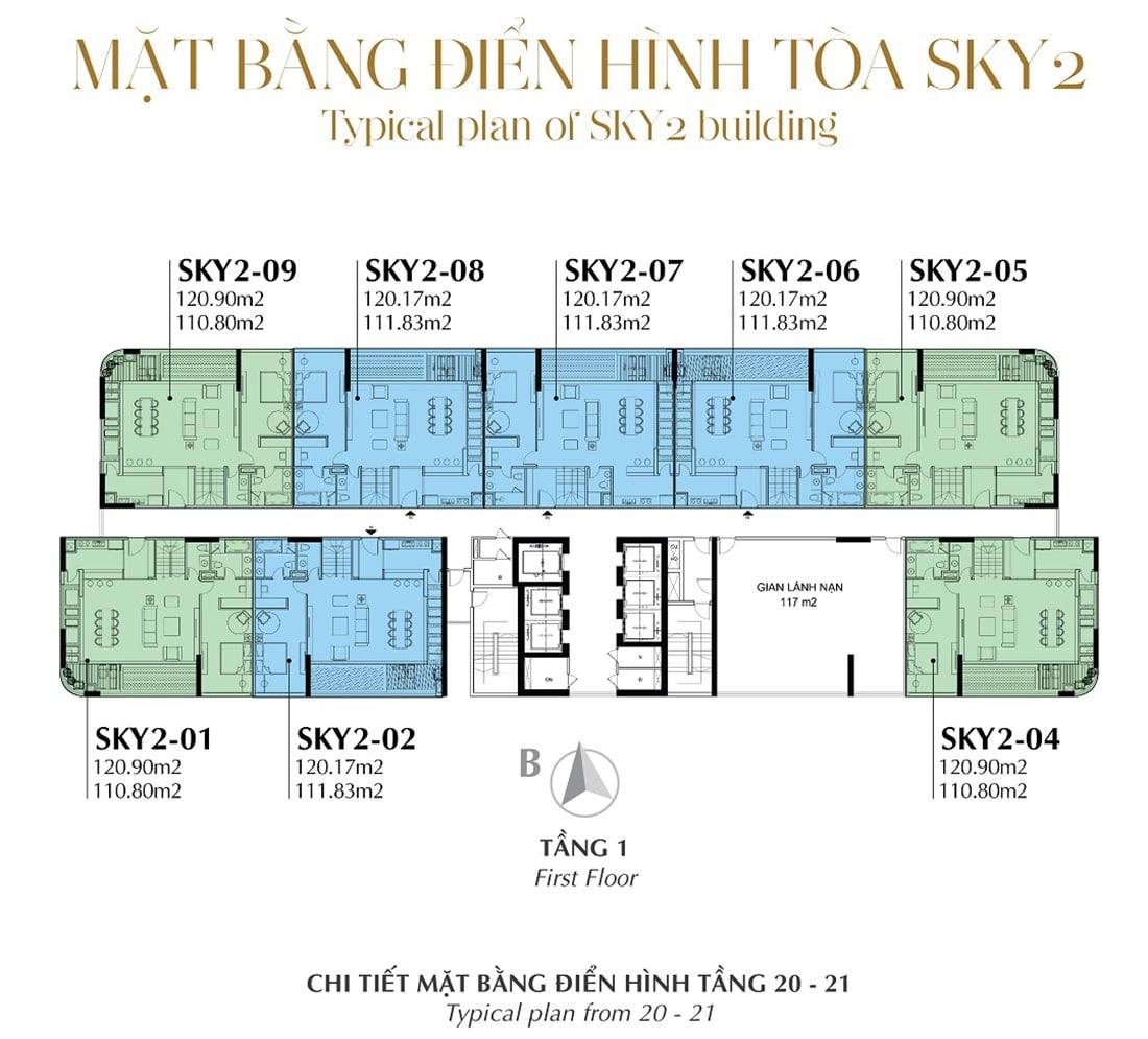 Mặt bằng điển hình Tầng 1 - Tòa Sky 2 Tầng 20 - 21