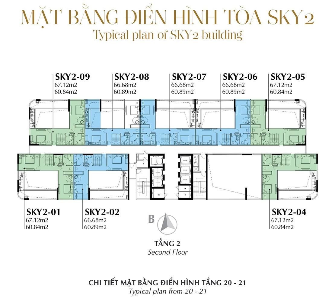 Mặt bằng điển hình Tầng 2 - Tòa Sky 2 Tầng 20 - 21