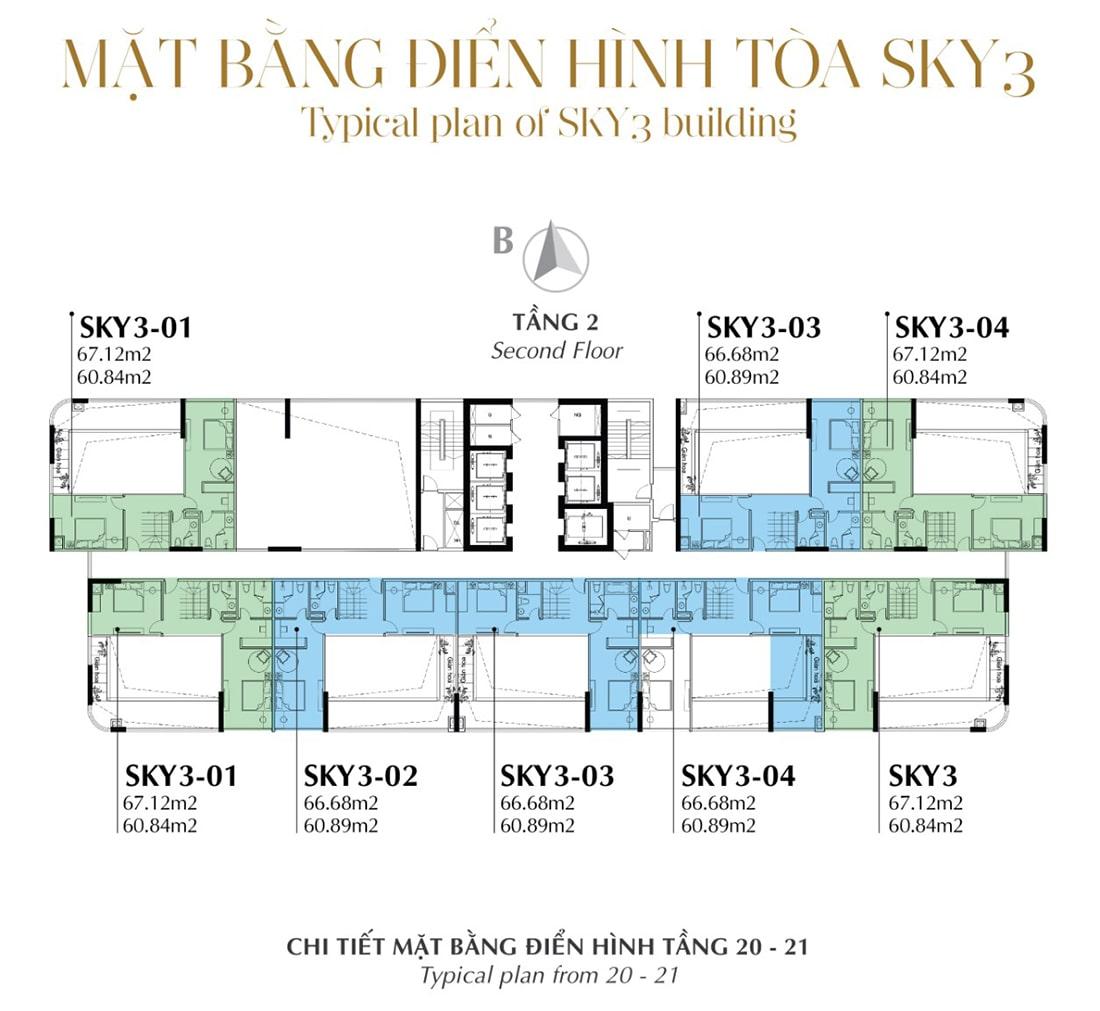 Mặt bằng điển hình Tầng 2 - Tòa Sky 3 Tầng 20 - 21