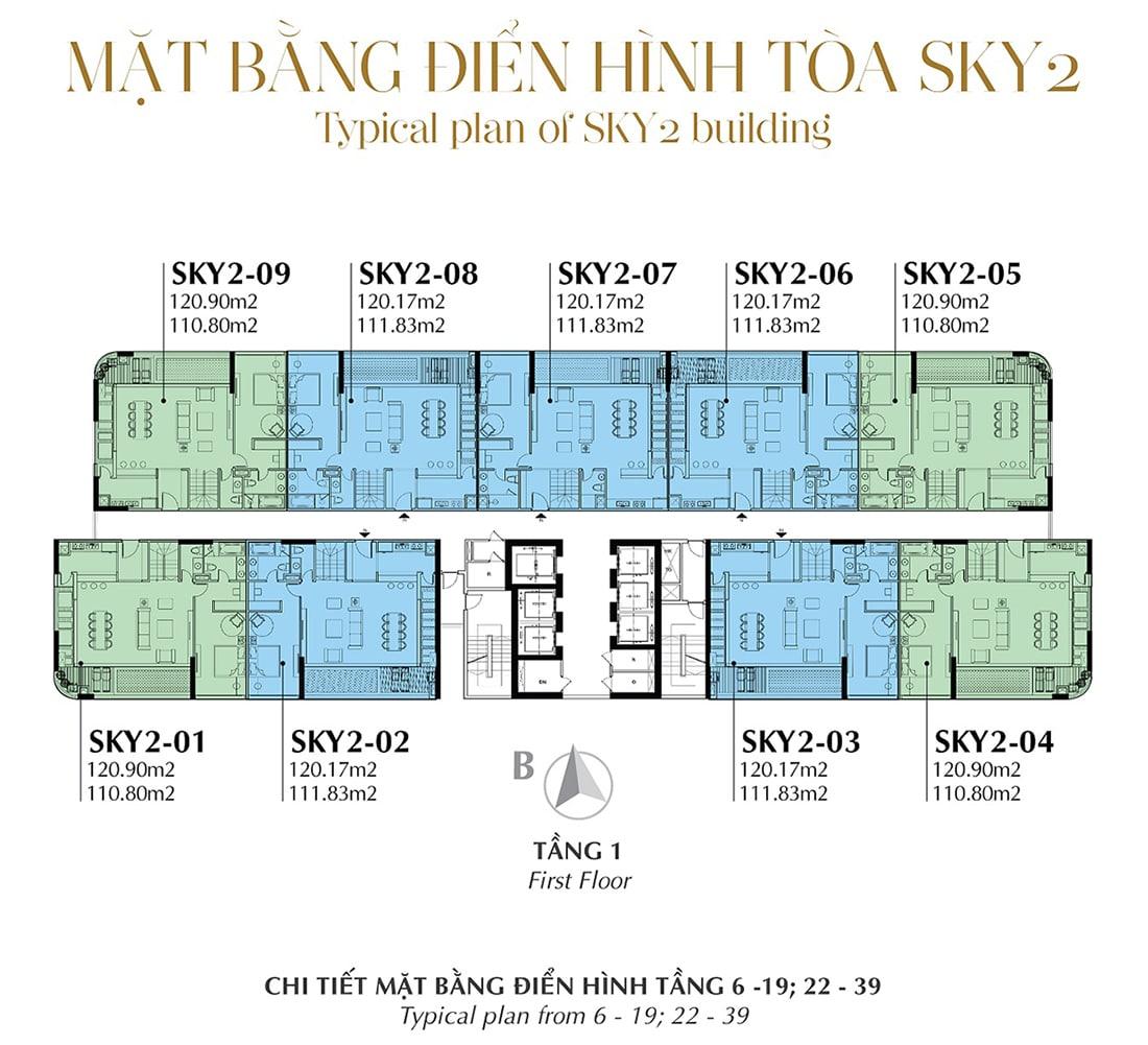 Mặt bằng điển hình Tầng 1 - Tòa Sky 2 Tầng 6 - 19; 22 - 39