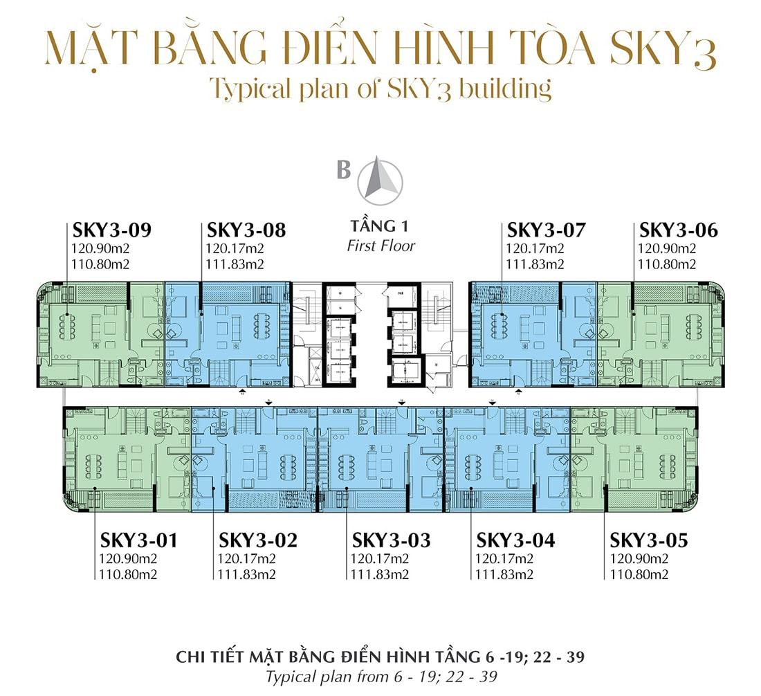 Mặt bằng điển hình Tầng 1 - Tòa Sky 3 Tầng 6 - 19; 22 - 39
