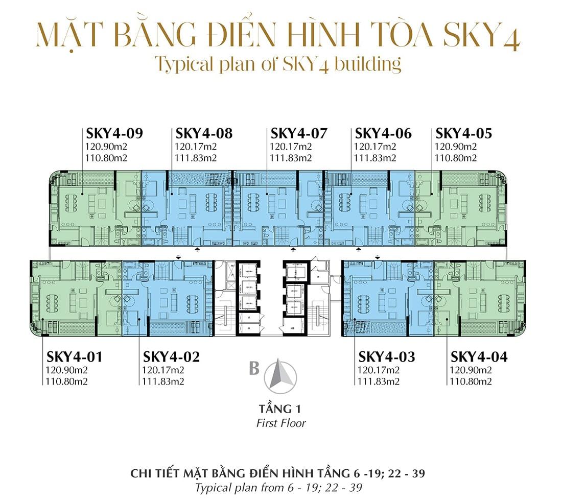 Mặt bằng điển hình Tầng 1 - Tòa Sky 4 Tầng 6 - 19; 22 - 39