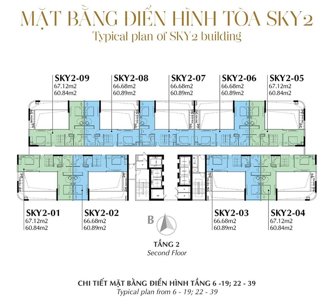 Mặt bằng điển hình Tầng 2 - Tòa Sky 2 Tầng 6 - 19; 22 - 39