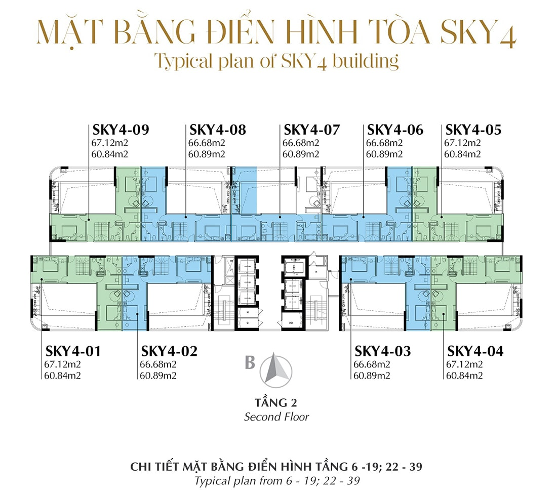 Mặt bằng điển hình Tầng 2 - Tòa Sky 4 Tầng 6 - 19; 22 - 39