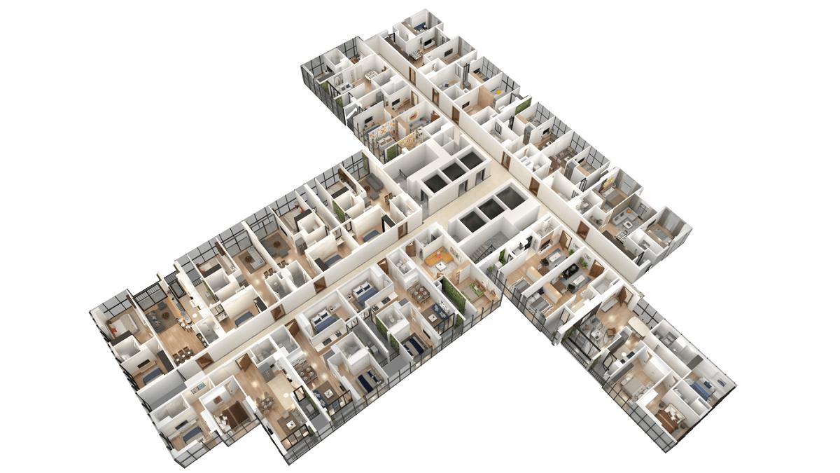 Phối cảnh 3D măt bằng căn hộ TNR the Nosta 90 đường Láng
