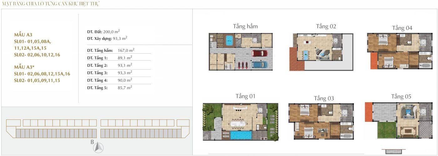 Thiết kế biệt thự Song lập - Mẫu A3 - A3* Sunshine Crystal River