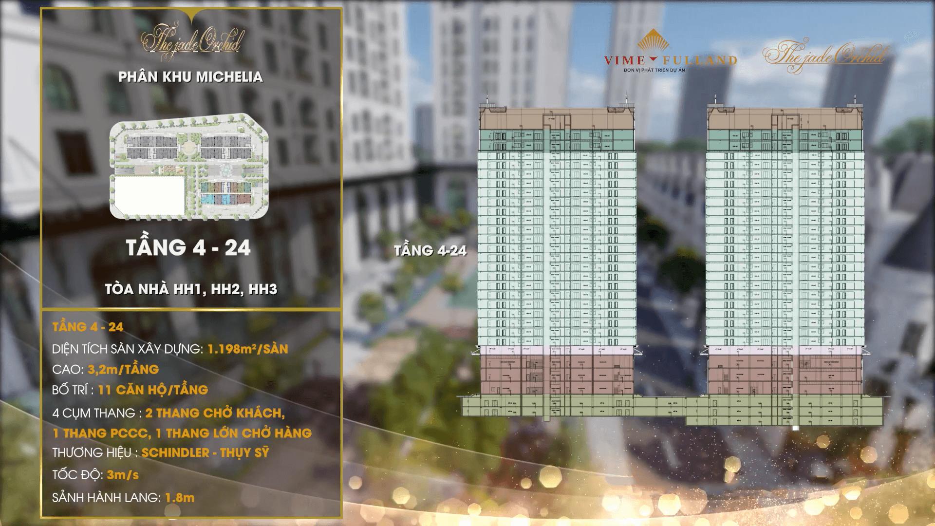 Mặt bằng thiết kế tầng 4 -24 tòa HH1 - HH2 - HH3