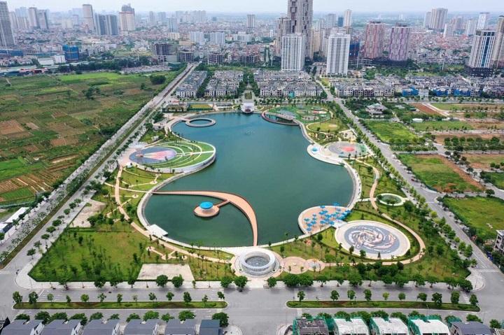 Hồ điều hòa, công viên Bách Thủy hợp trong khu đô thị Nam Cường