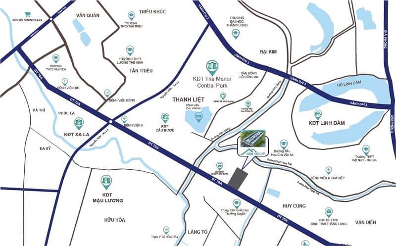 Vị trí dự án liền kề shophouse S-Downtown Thanh Trì