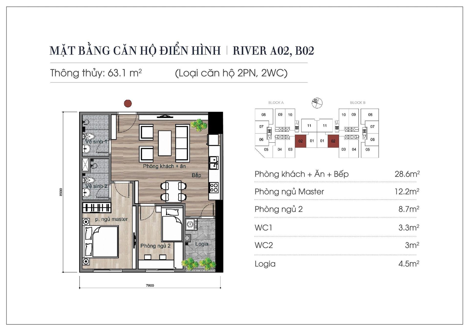 Thiết kế căn hộ 63,1 m2