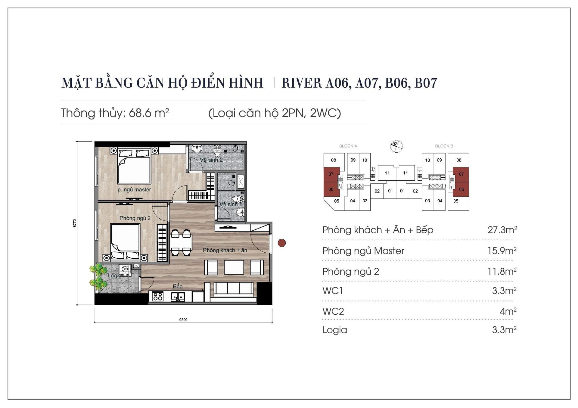 Thiết kế căn hộ 68,6 m2