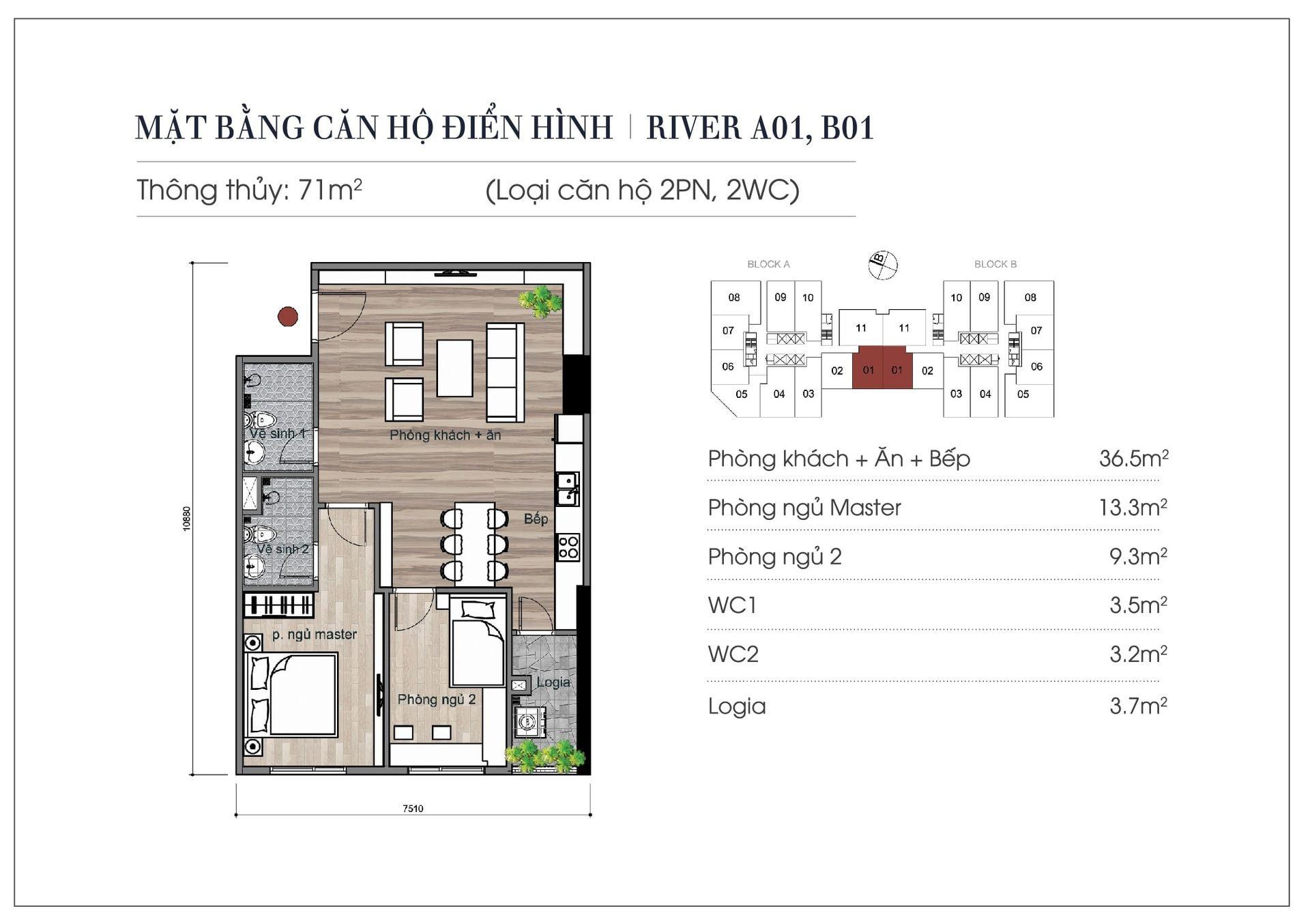 Thiết kế căn hộ 71 m2chung cư Eurowindow River Park