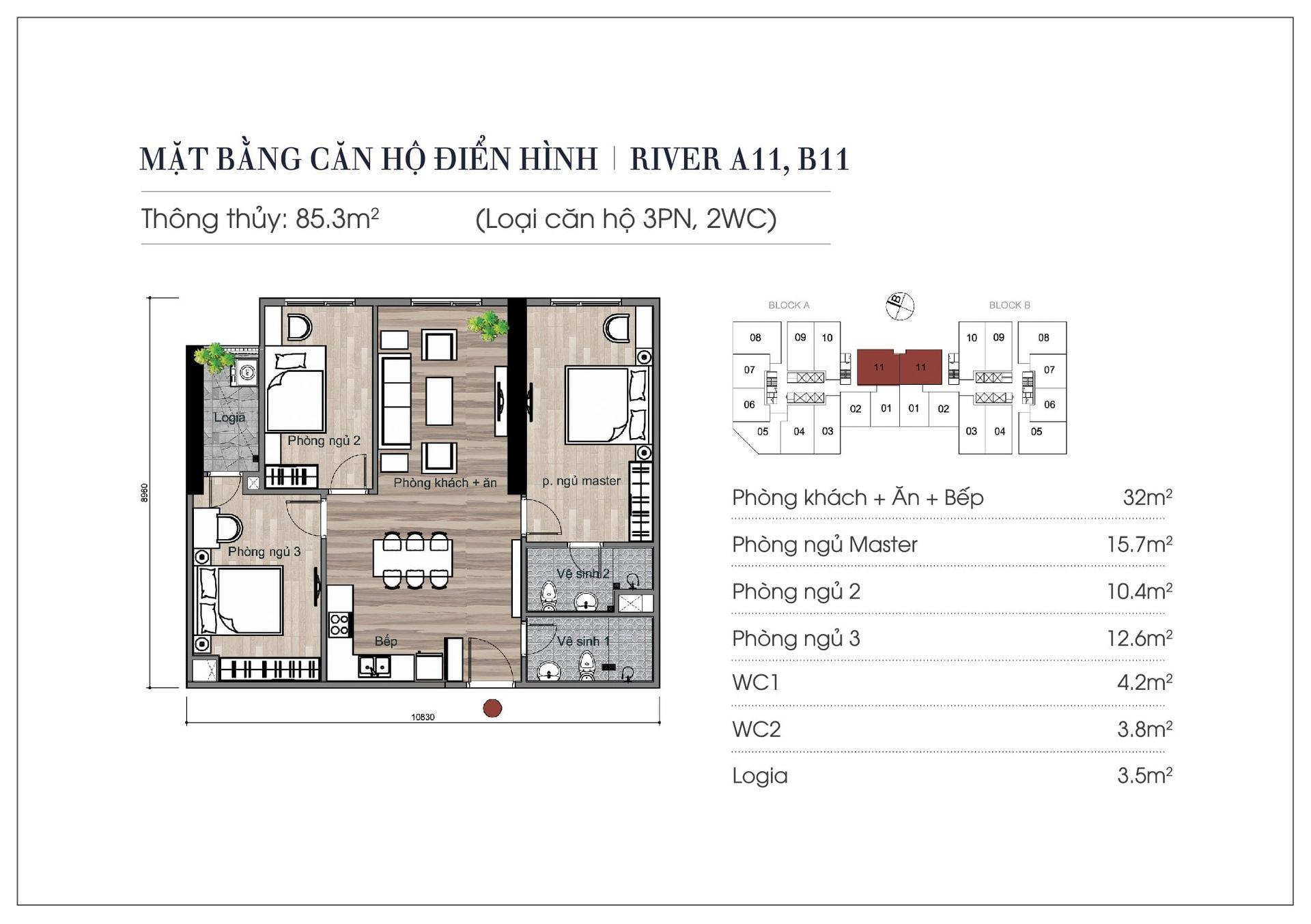 Thiết kế căn hộ 85,3 m2 chung cư Eurowindow River Park