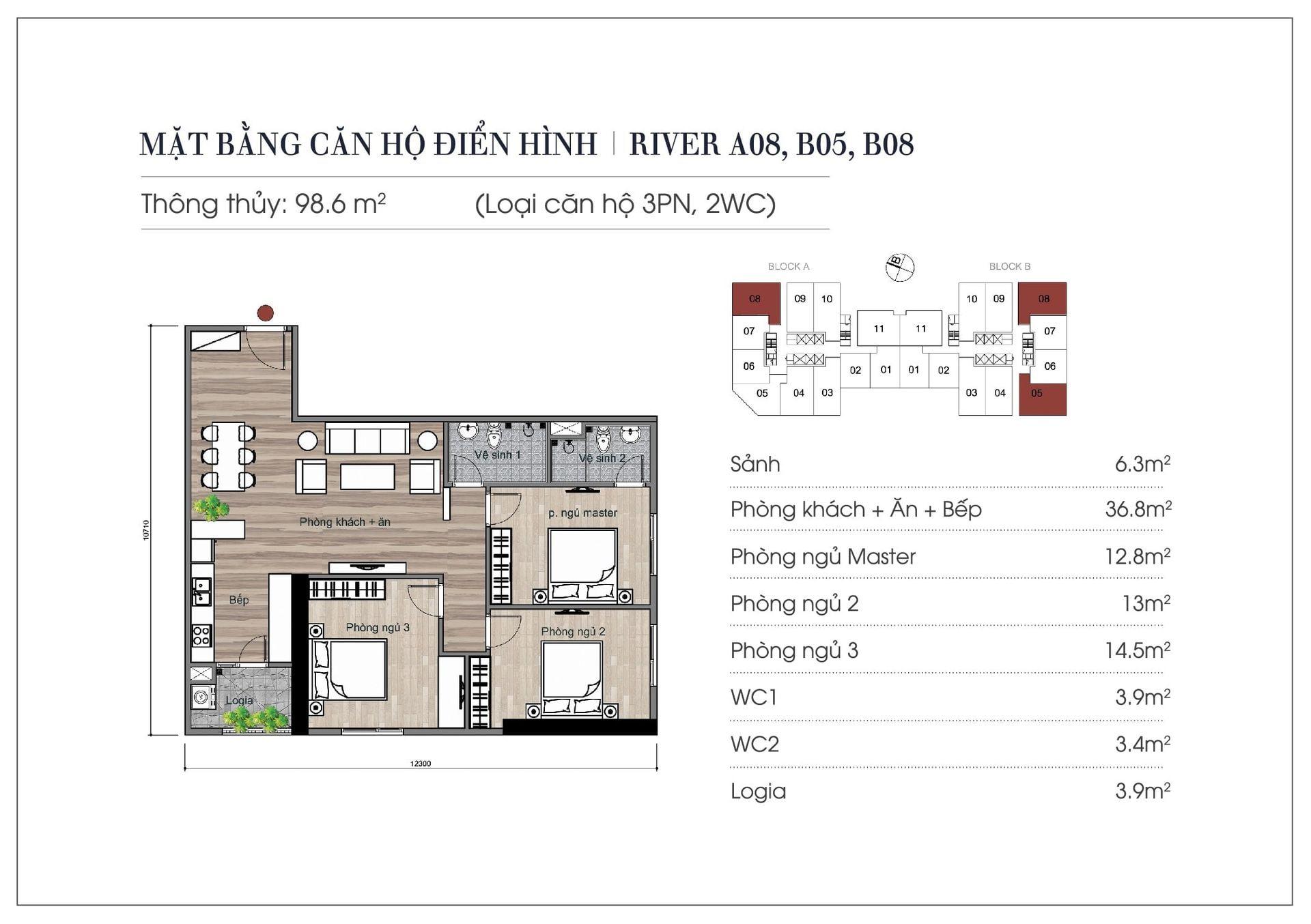 Thiết kế căn hộ 98,6 m2