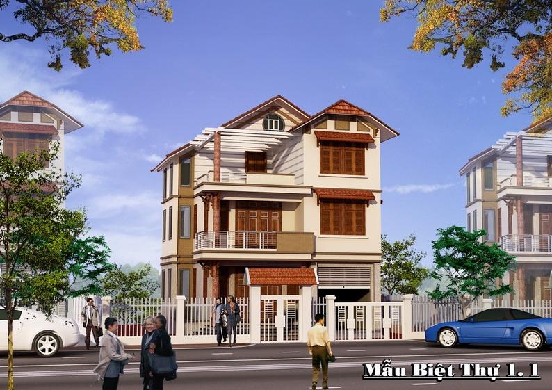 Phối cảnh biệt thự mẫu 1 Khu đô thị Hà Phong Mê Linh