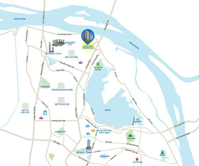 Vị trí dự án chung cư Sunshine Riverside Ciputra