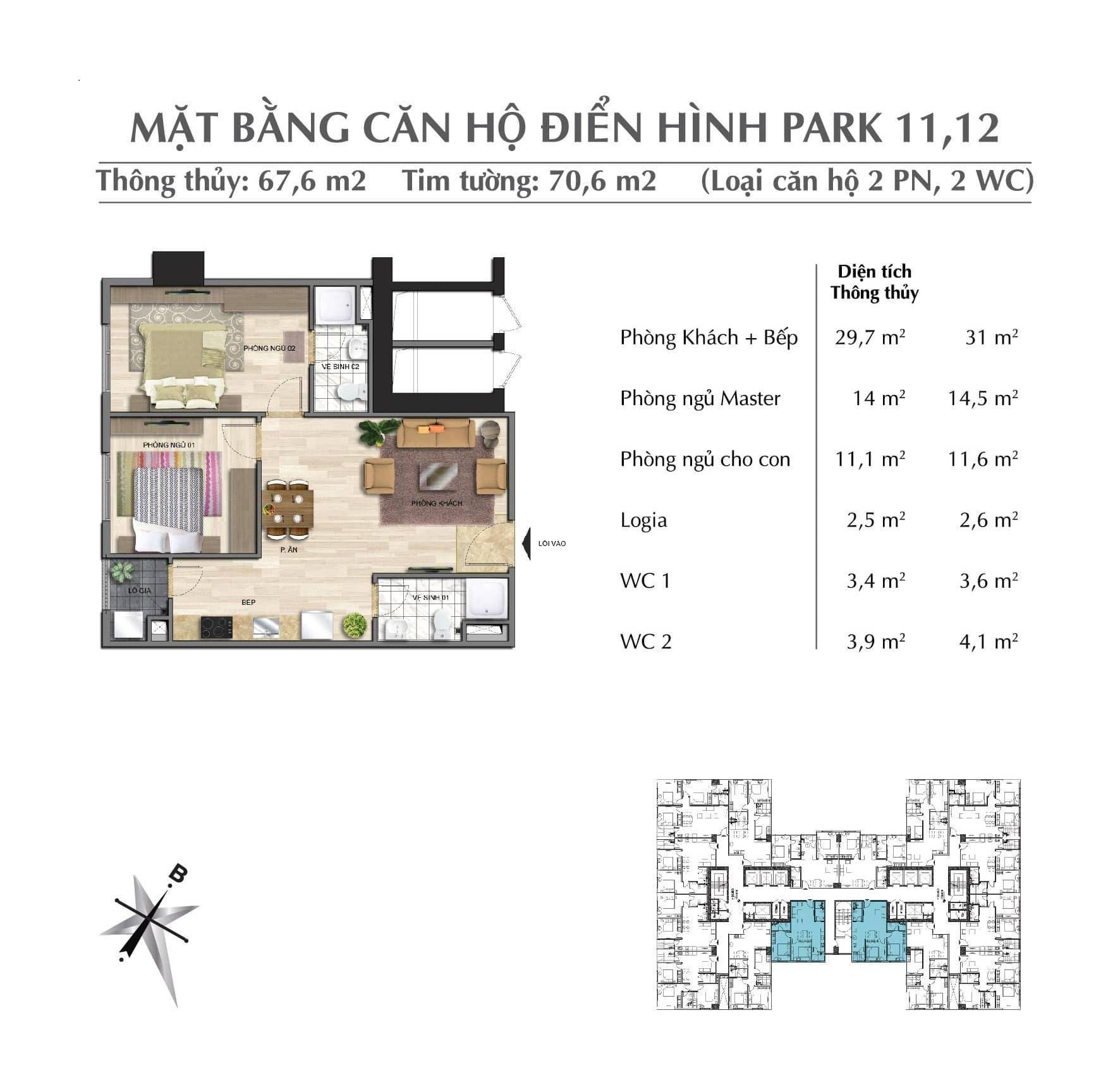 Thiết kế căn 67,6 m Park 1 + 2 + 3 chung cư Eurowindow River Park