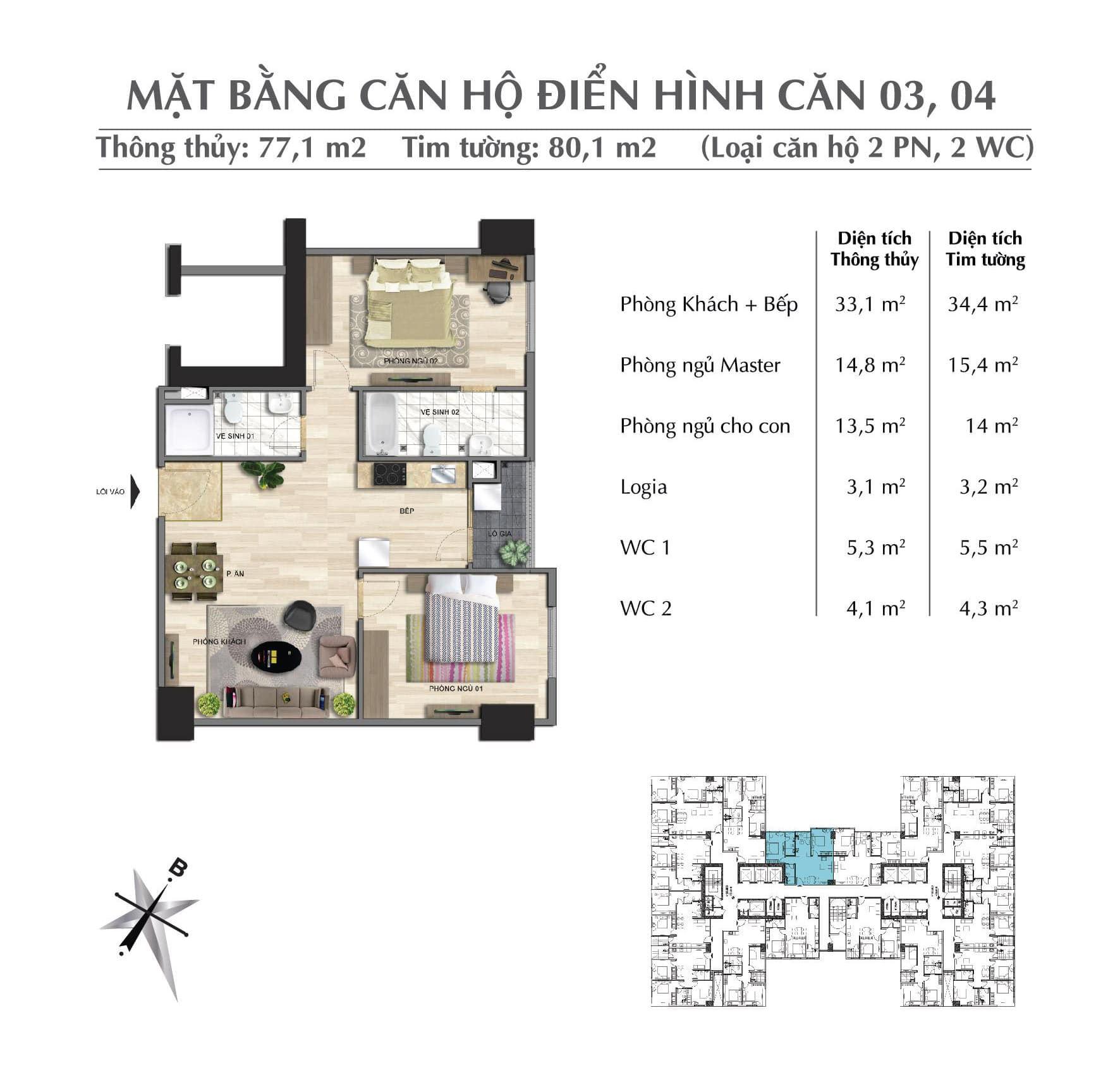 Thiết kế căn 77,1 m2 tòa Park 1 + 2 + 3chung cư Eurowindow River Park