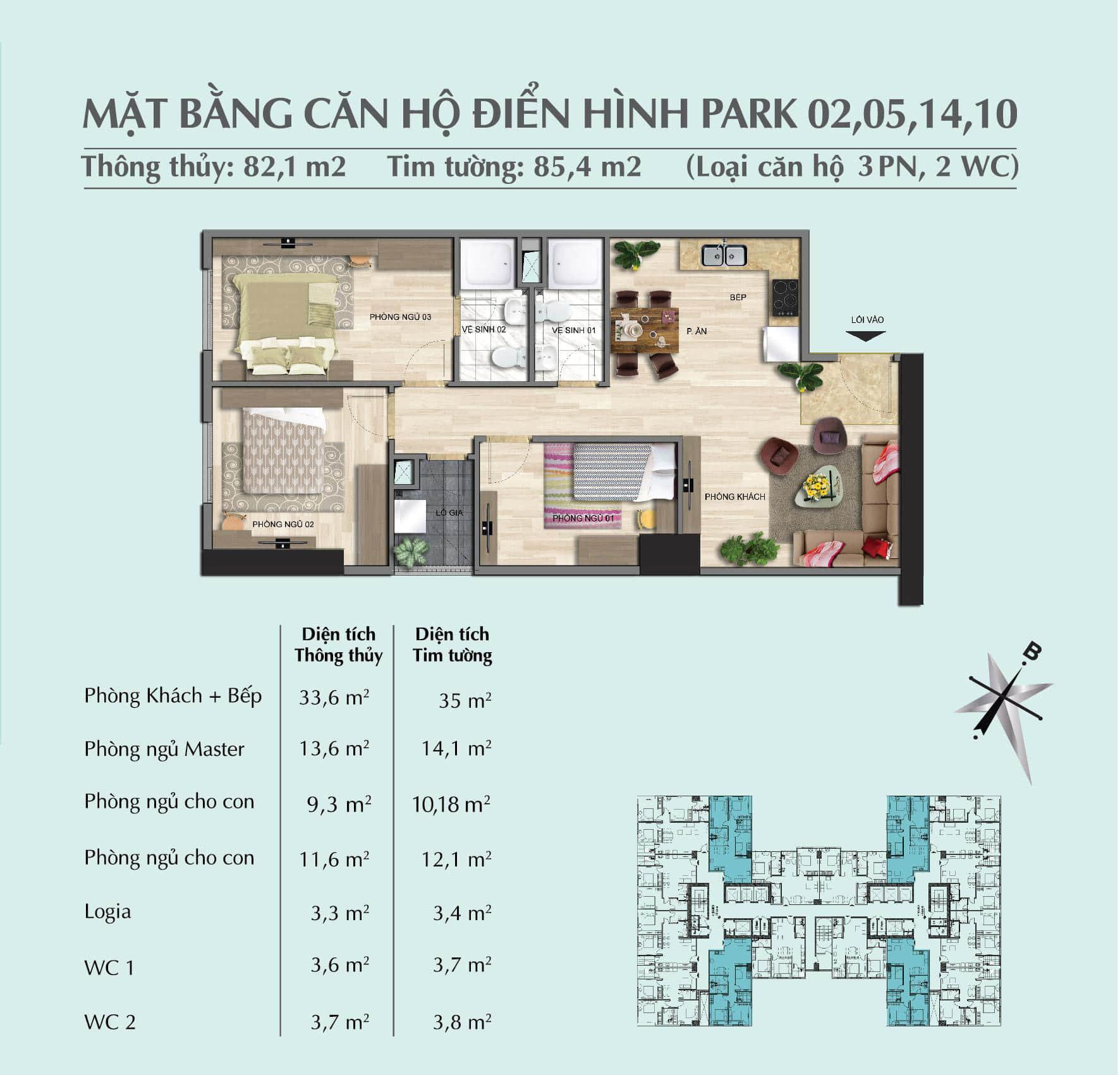 Thiết kế căn 82,1 m2 tòa Park 1 + 2 + 3chung cư Eurowindow River Park