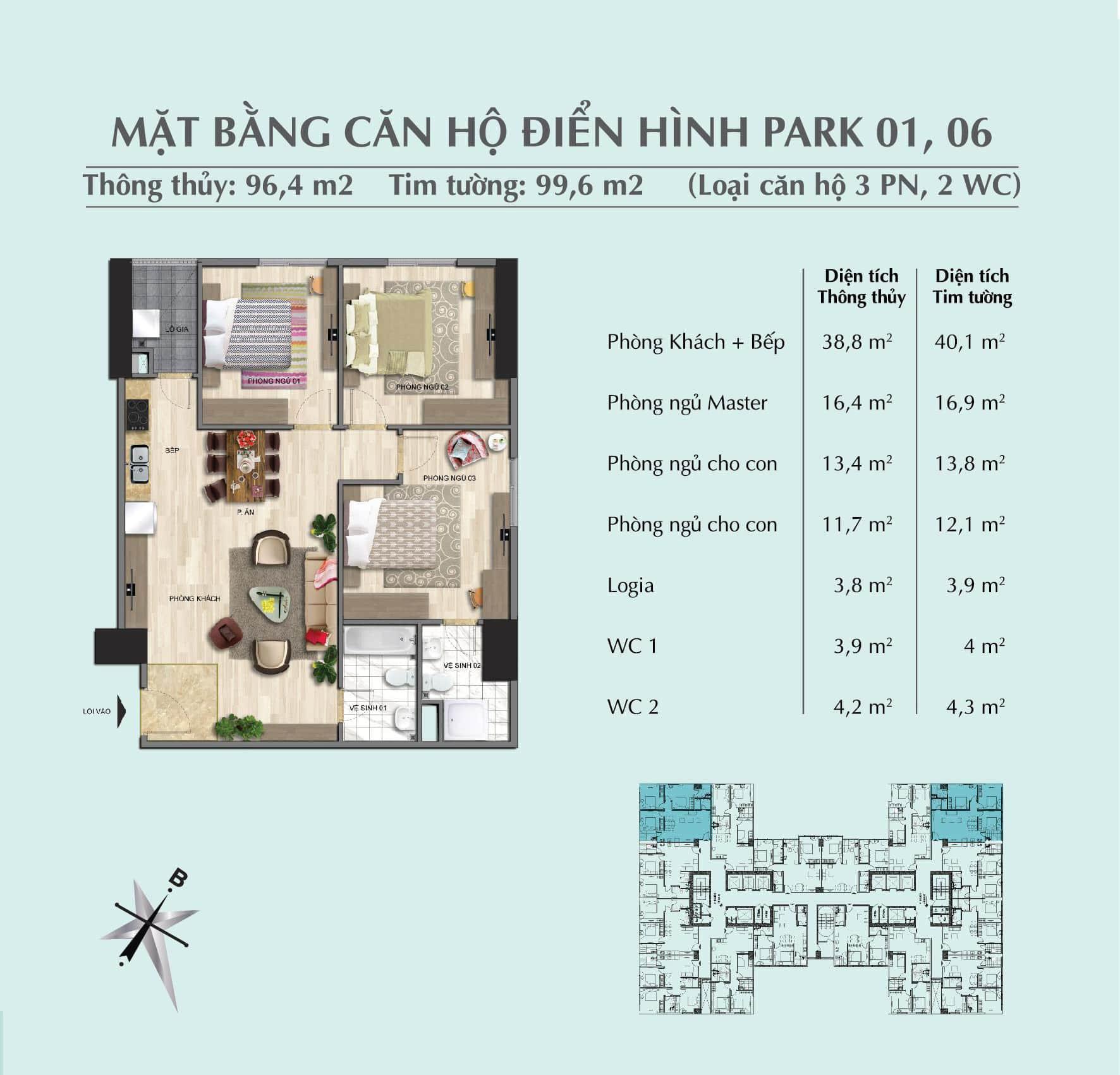 Thiết kế căn 96,4 m2 tòa Park 1 + 2 + 3