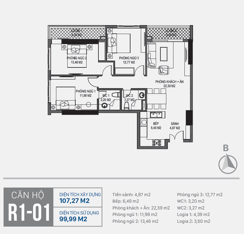 Thiết kế căn hộ R1 - 01 chung cư Sunshine Riverside Ciputra
