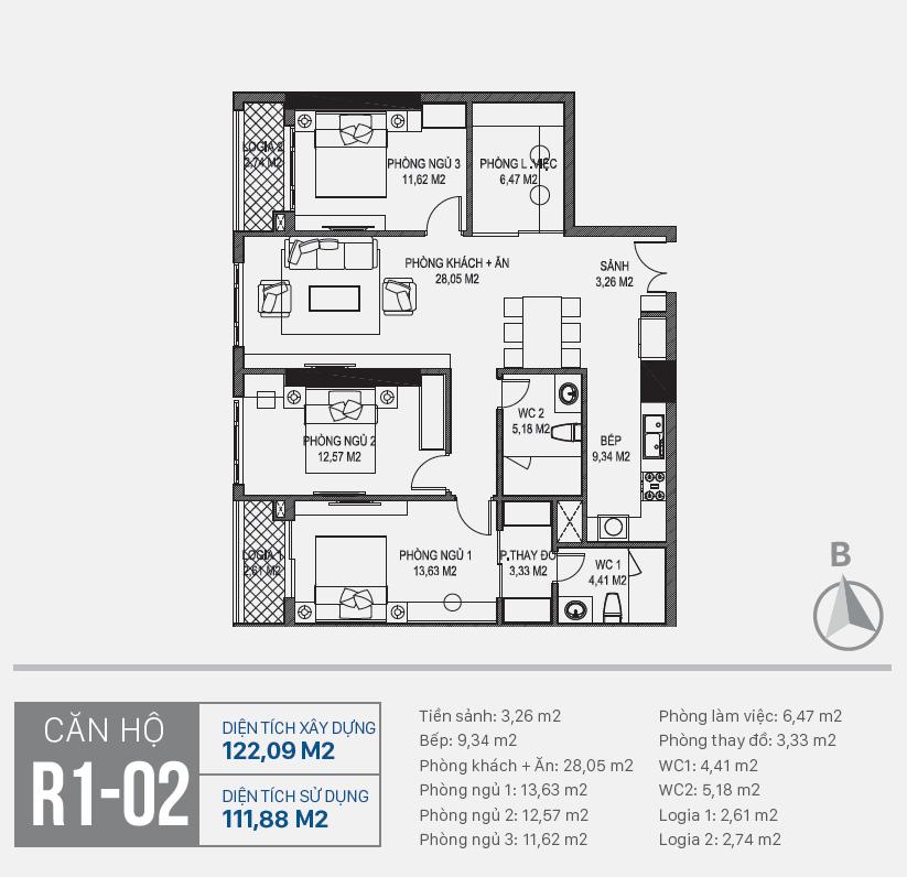 Thiết kế căn hộ R1 - 02 chung cư Sunshine Riverside Ciputra